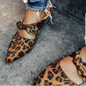 Shoes - Cheetah leopard flats close toe mules camel color
